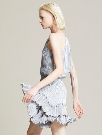 Pleated Metallic Dress - Halston