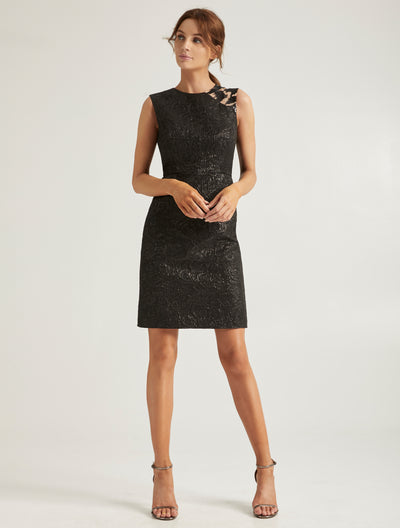 Embellish Jacquard Dress - Halston