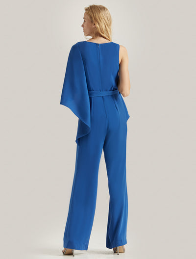 FLOWY DRAPED JUMPSUIT - Halston