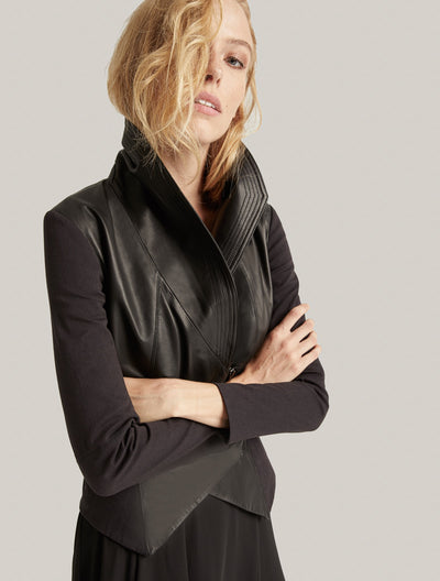 Leather Combo Jacket - Halston