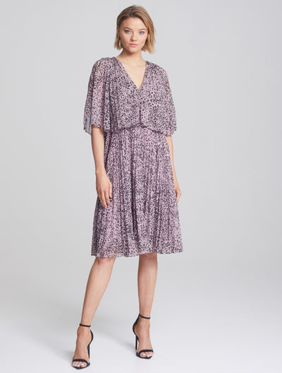 Pleated Printed Dress - Halston