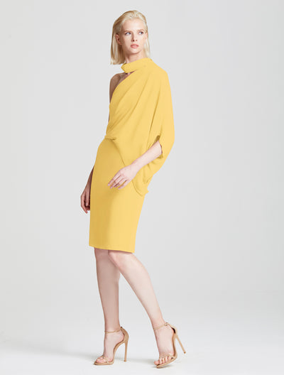 Wrap Neck Asymmetric Draped Dress - Halston