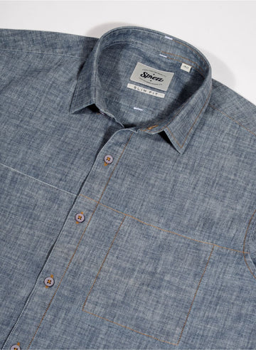 Chambray Denim with Contrast Dual Stitch Shirt