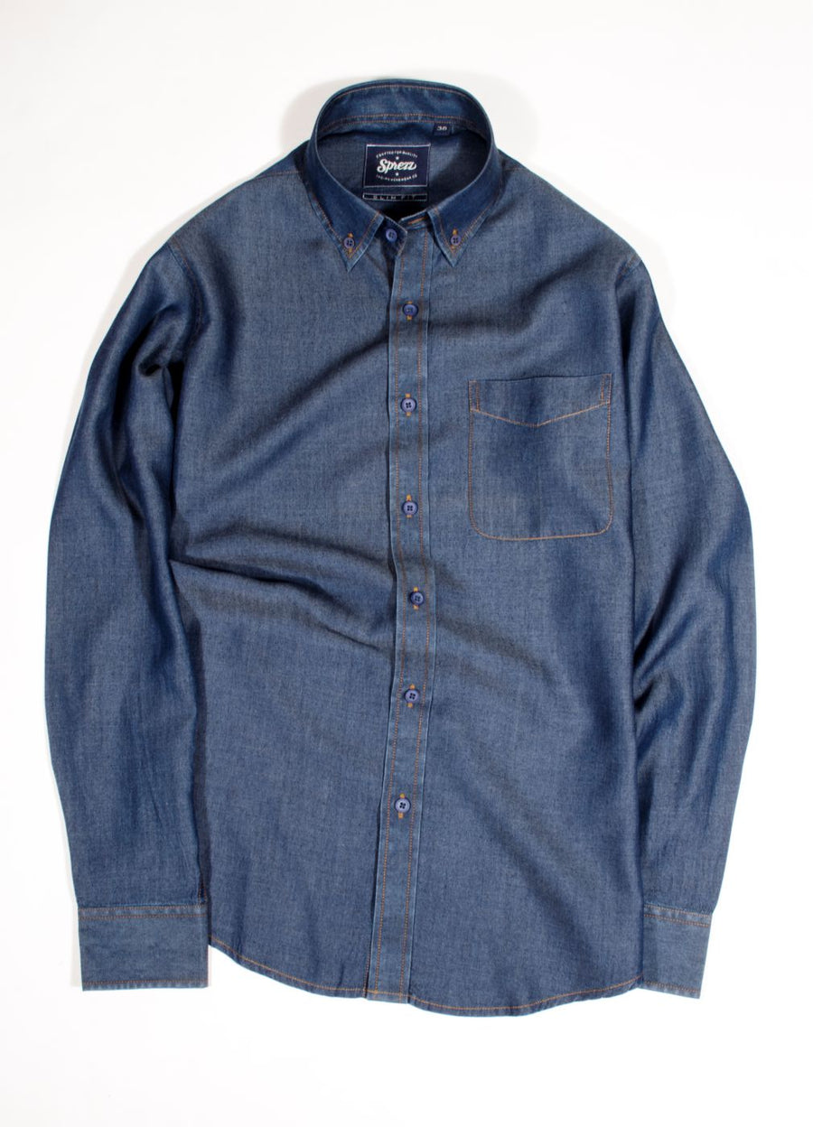 Light Weight Washed Denim Slim Fit Shirt