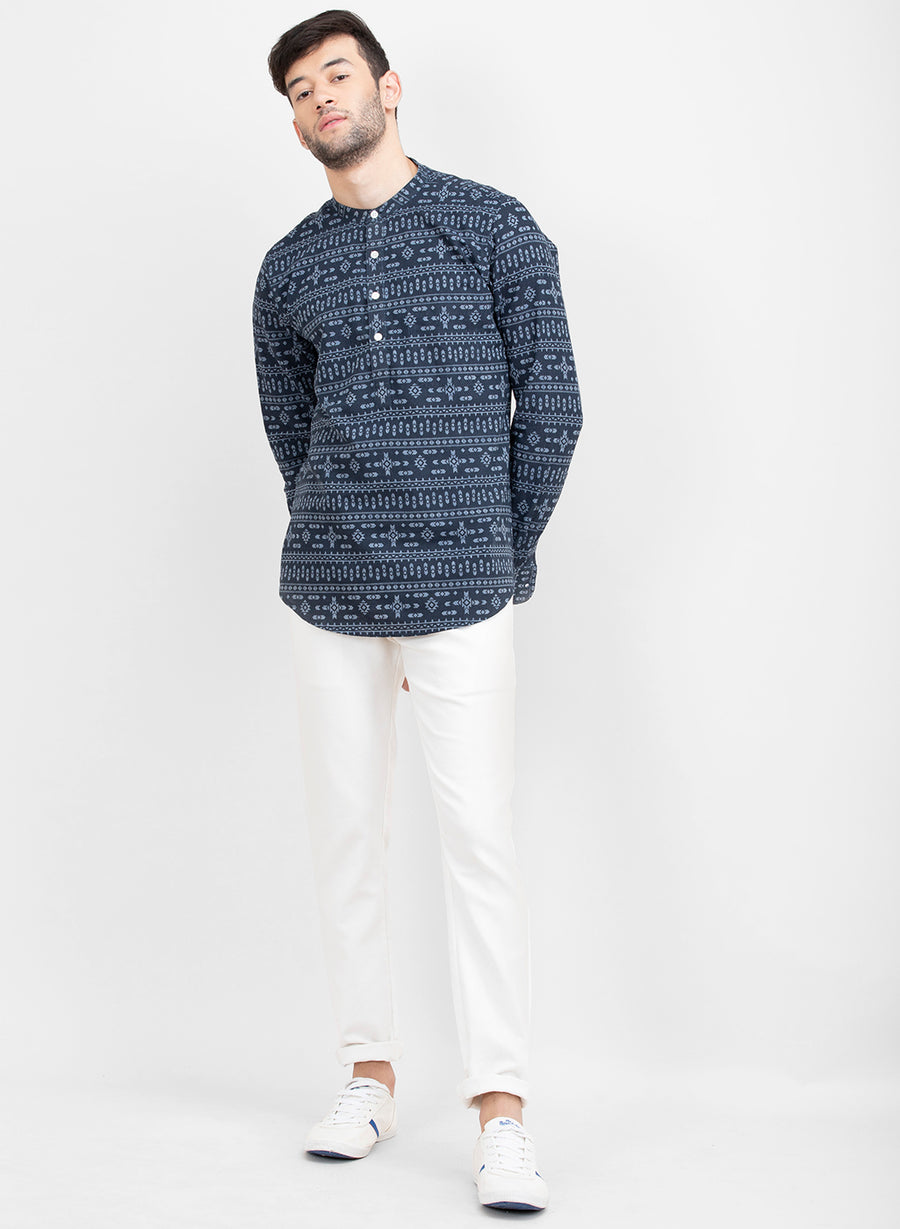 Nordic Indigo Pop Over Slim Fit Shirt