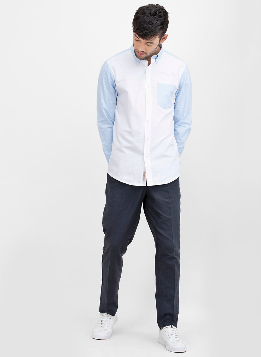 Color Block Oxford Button Down Slim Fit Shirt