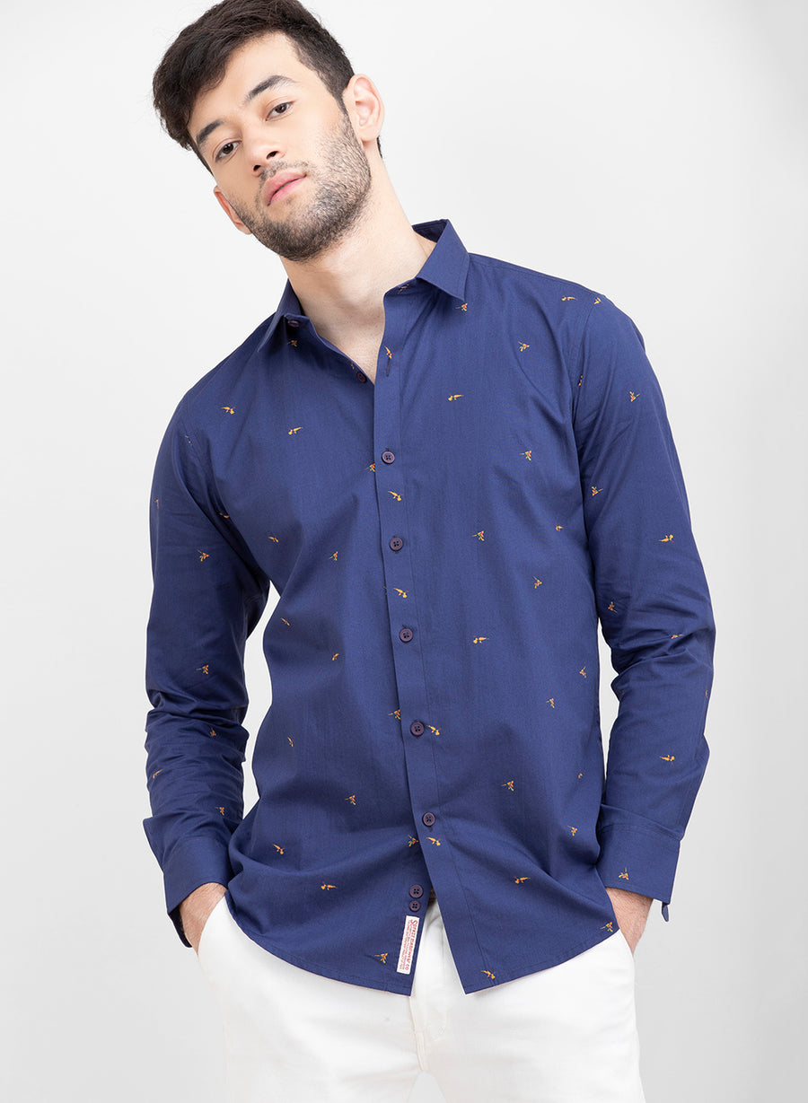Bird Of Paradise Print Slim Fit Shirt