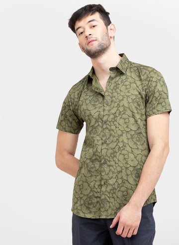 Olive Genko Print Slim Fit Half Sleeves Shirt