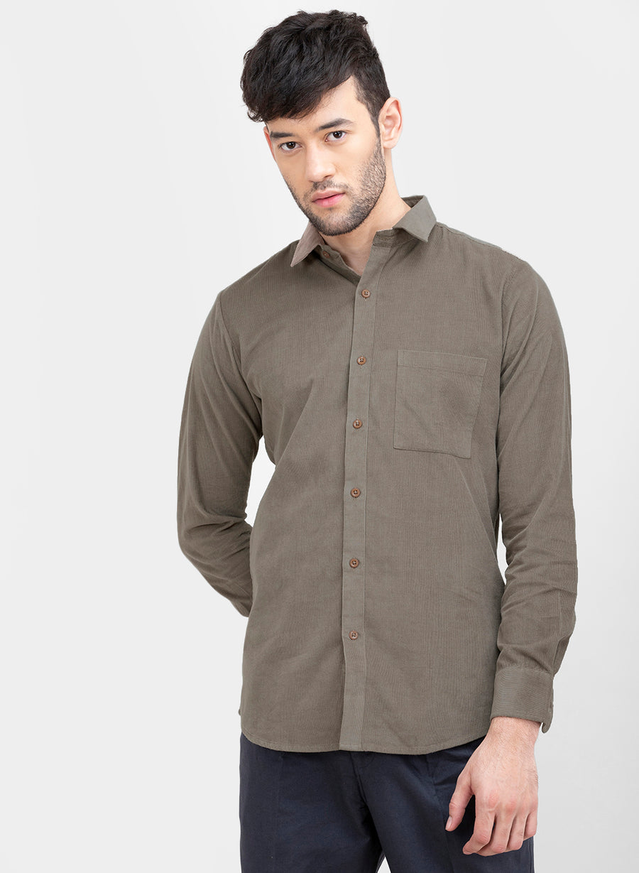 Grey Corduroy Button Down Slim Fit Shirt