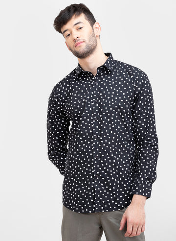 Dice Polka Print Slim Fit Full Sleeves Shirt