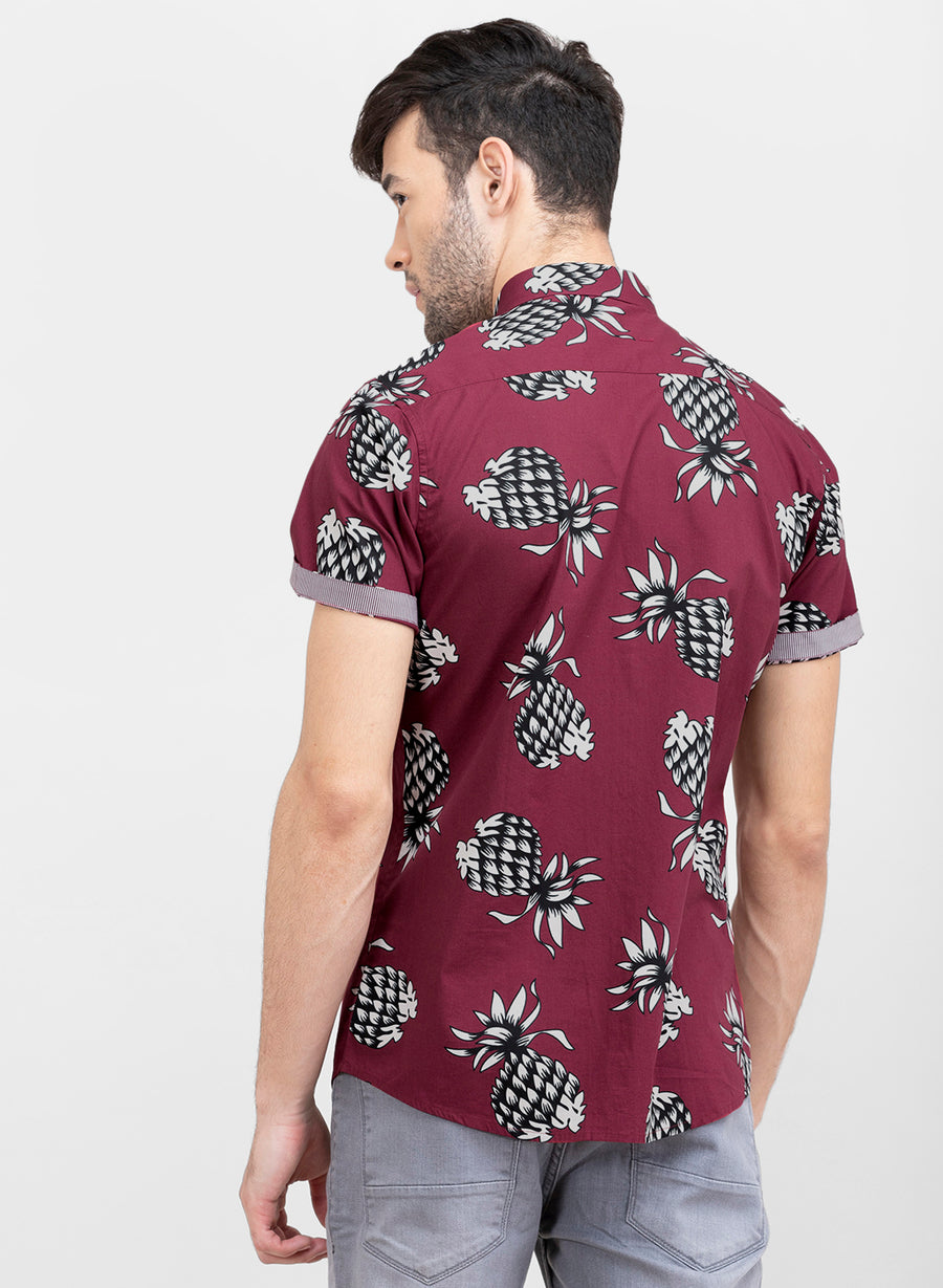 Summer Fruits Slim Fit Half Sleeves Shirt
