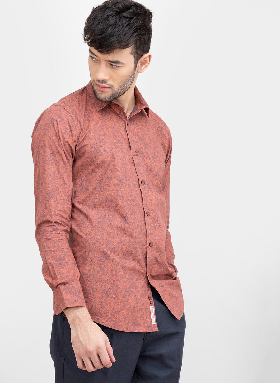 Rust Ripple Print Slim Fit Shirt