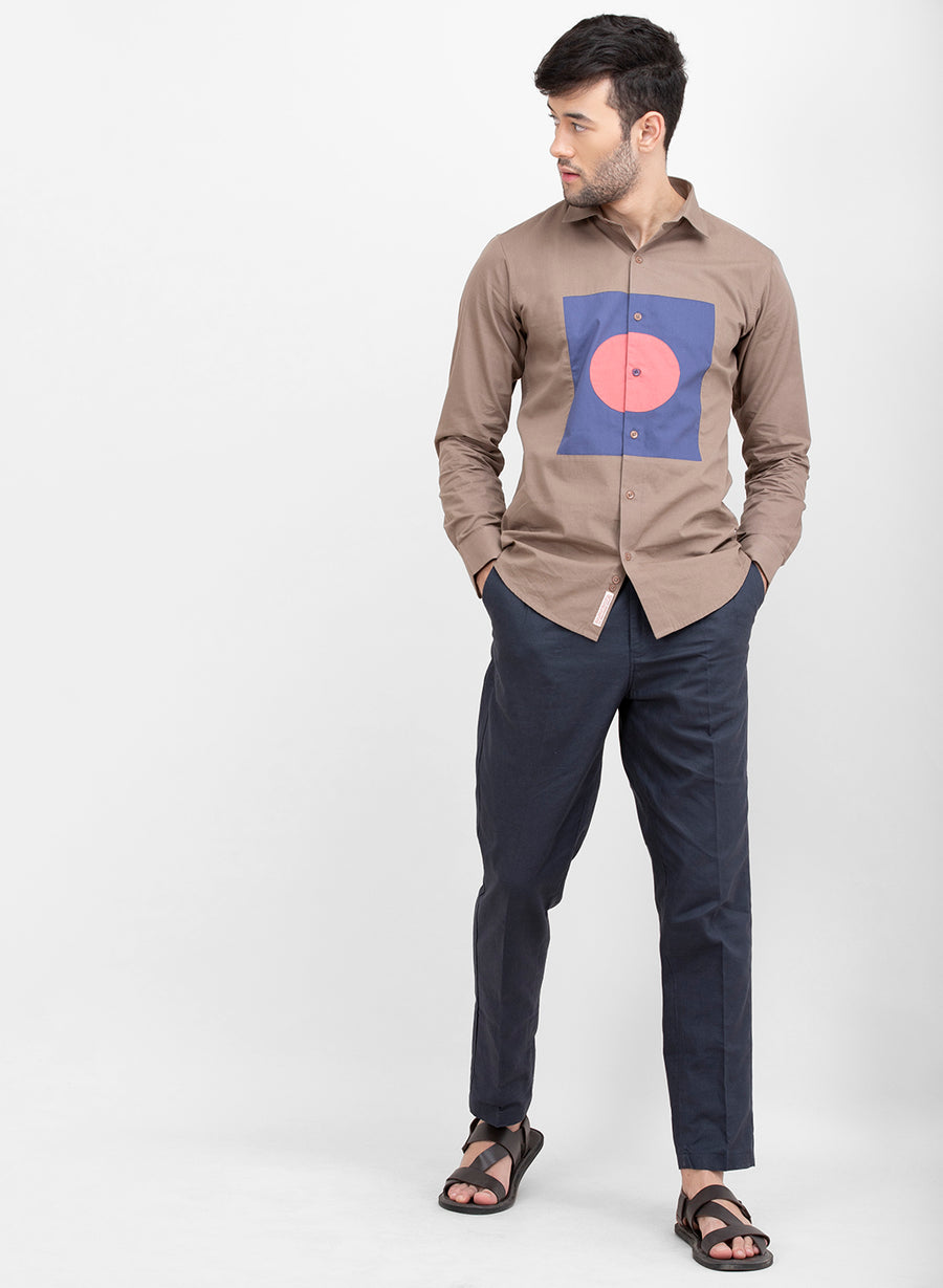 Cible Color Block Cutaway Collar Shirt