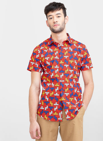 Tetris Print Slim Fit Shirt