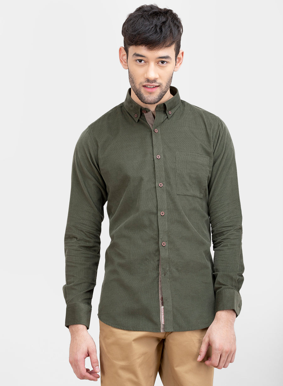 Olive Corduroy Button Down Slim Fit Shirt