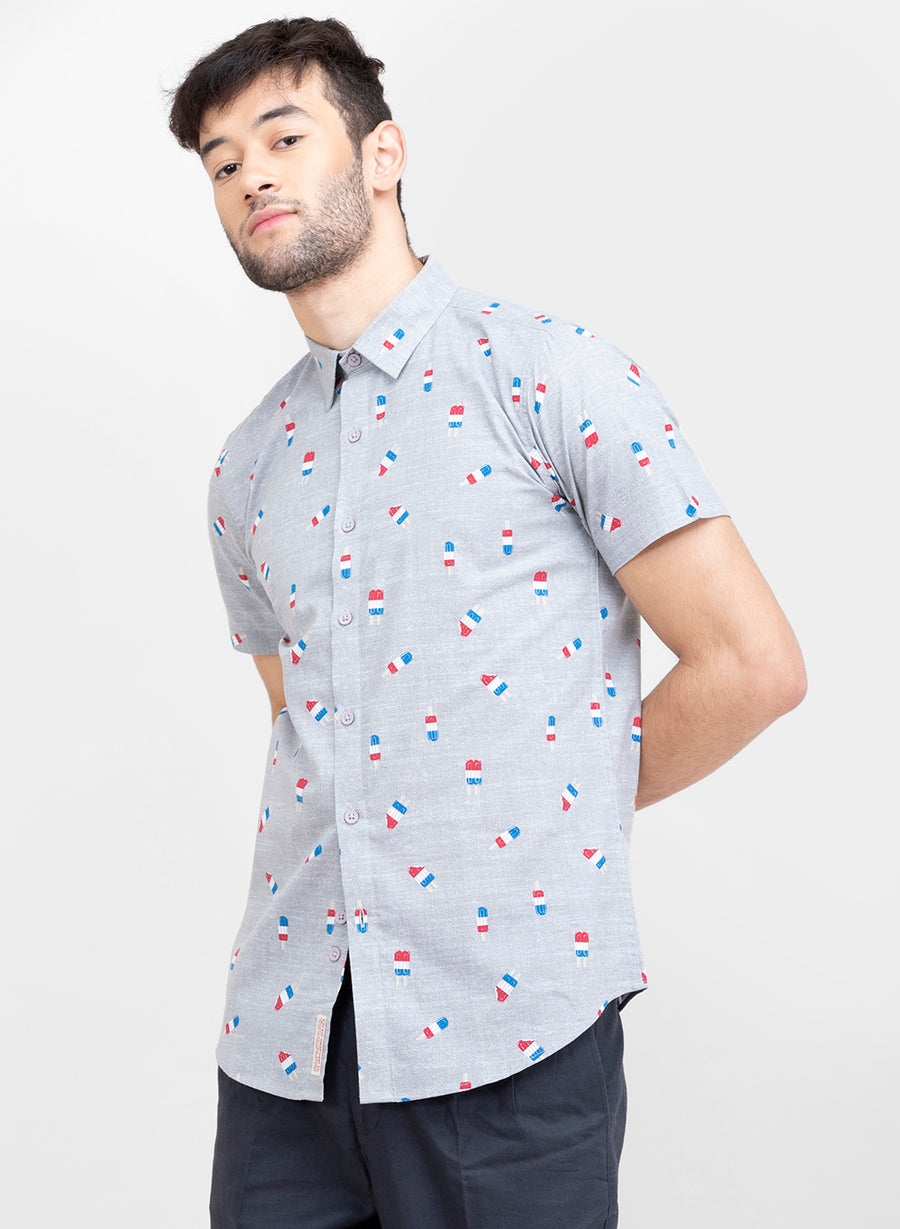 Popsicle Print Half Sleeves Slim Fit Shirt
