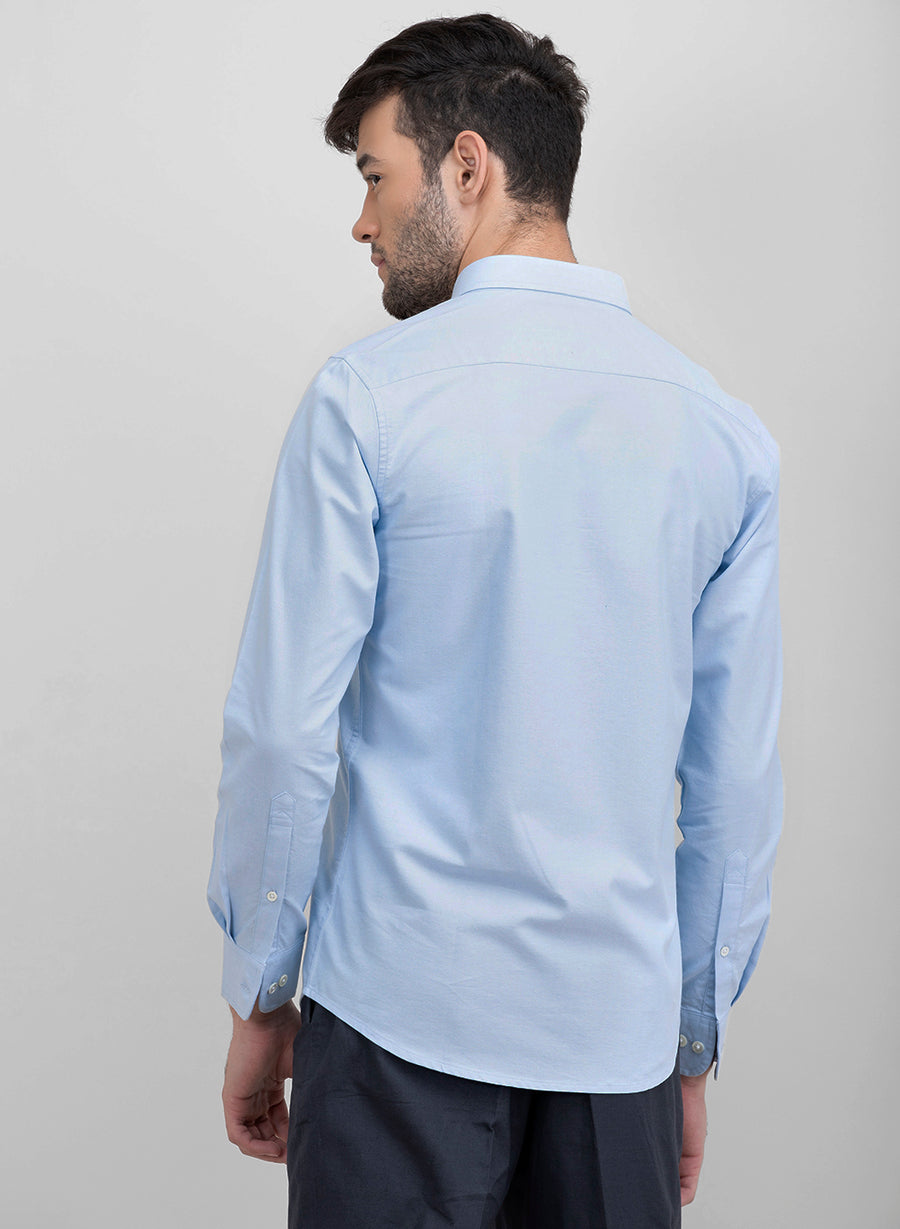 Color Block Sky Blue Oxford Full Sleeves Slim Fit Shirt