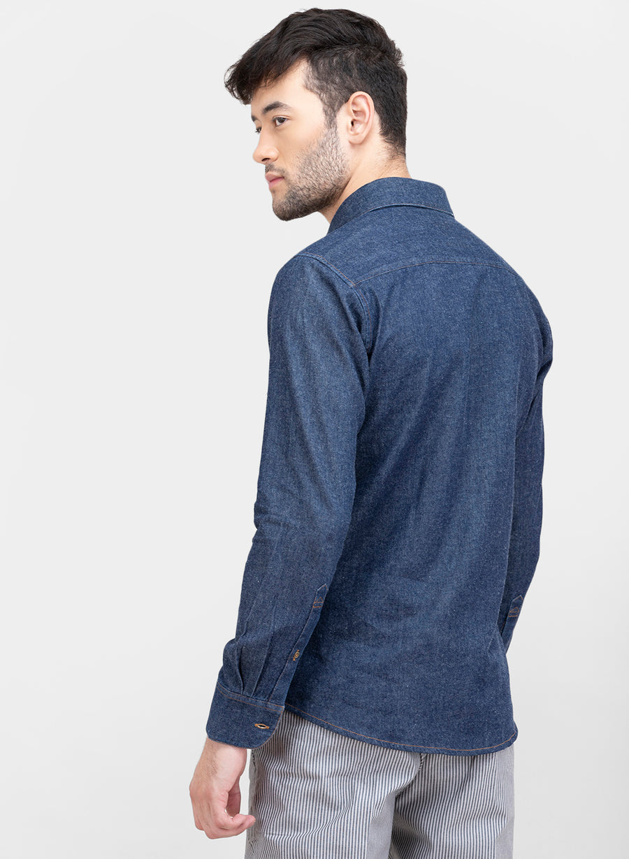 Work Wear Indigo Denim Slim Fit Shirt
