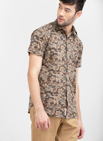 Pixel Camo Slim Fit Half Sleeves Shirt