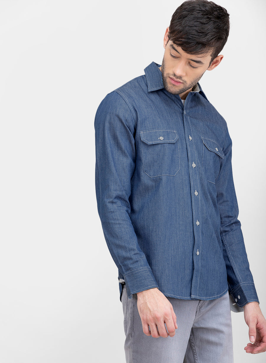 Work Wear Denim Slim Fit Shirt