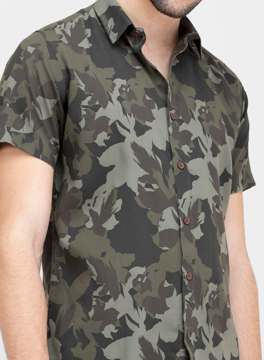 Olive Floral Half Sleeves Shirt