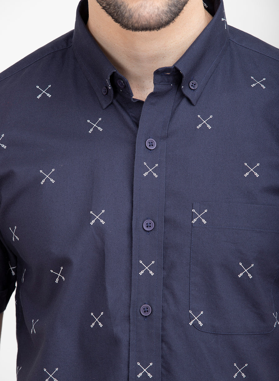 Nautical Print Half Sleeves Slim Fit Shirt