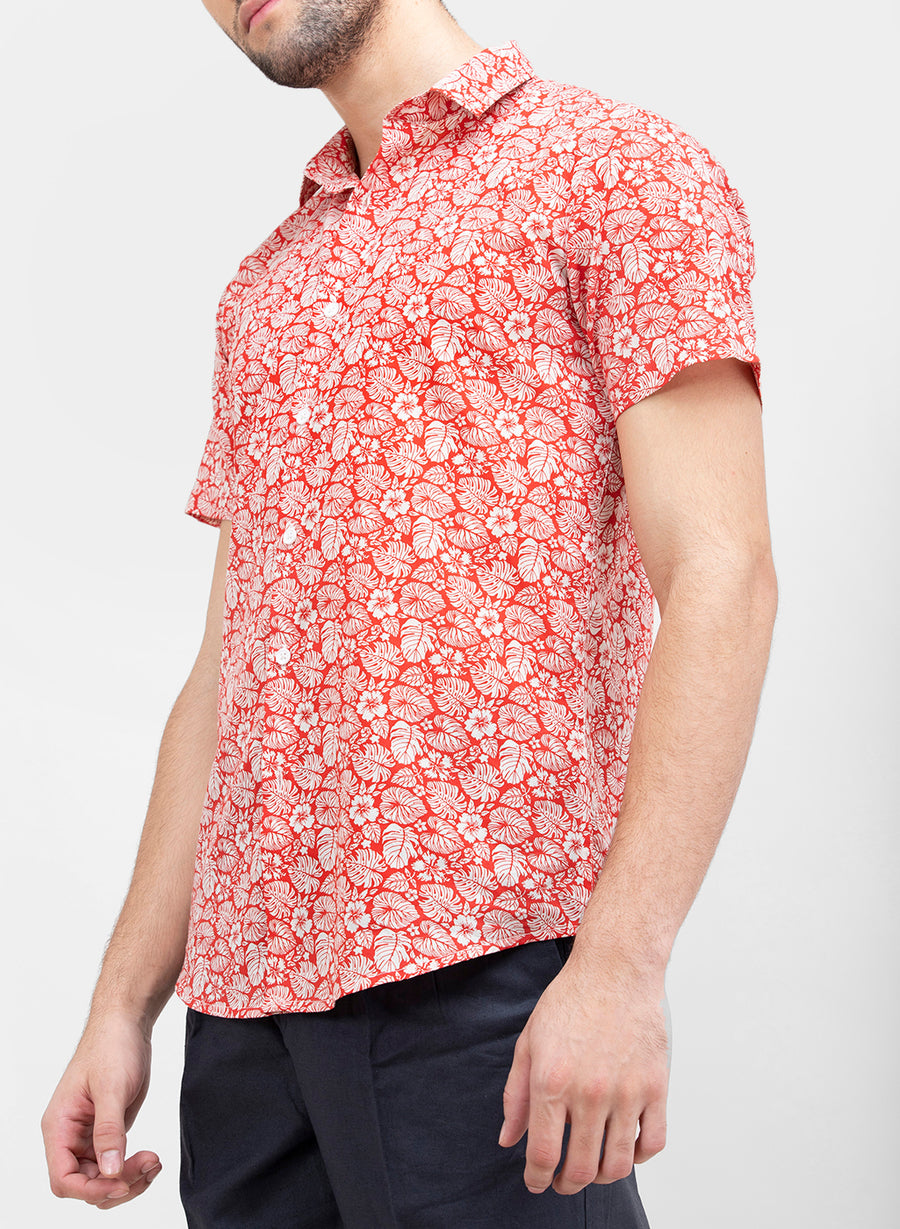 Tropical Floral Half Sleeves Slim Fit Shirt