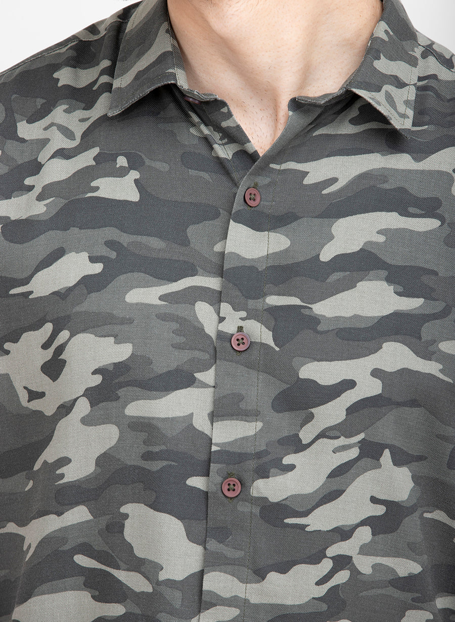Grey Camo Half Sleeves Slim Fit Shirt