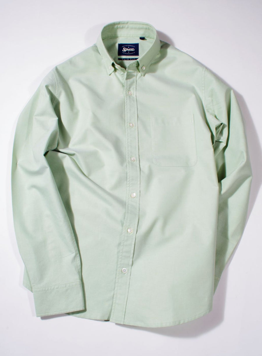 Pastel Green Oxford Button Down Slim Fit Shirt