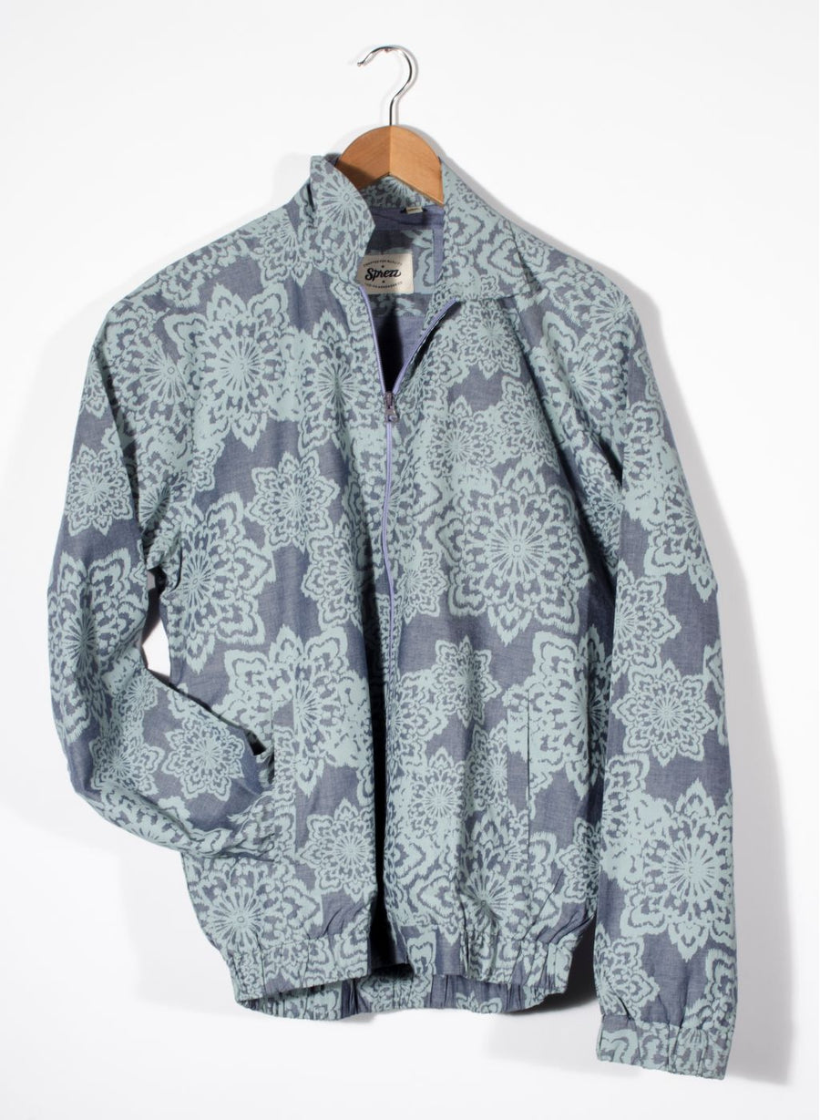 Chambray Floral Bomber Jacket
