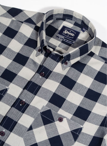 Light Flannel Twill Check Button Down Shirt
