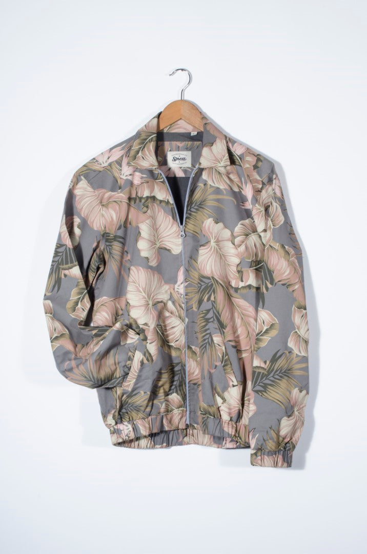Floral Bomber Cotton Twill Jacket