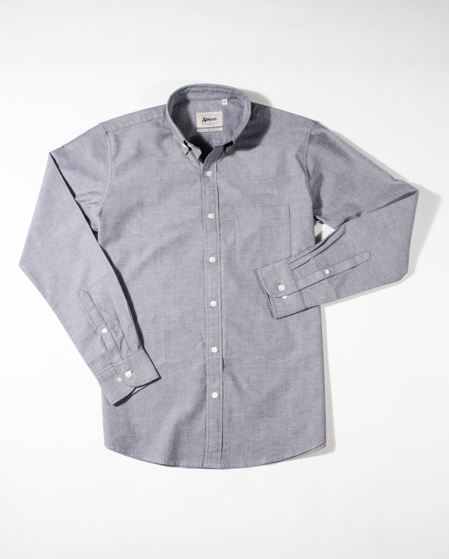Grey Oxford Button Down Slim Fit Shirt