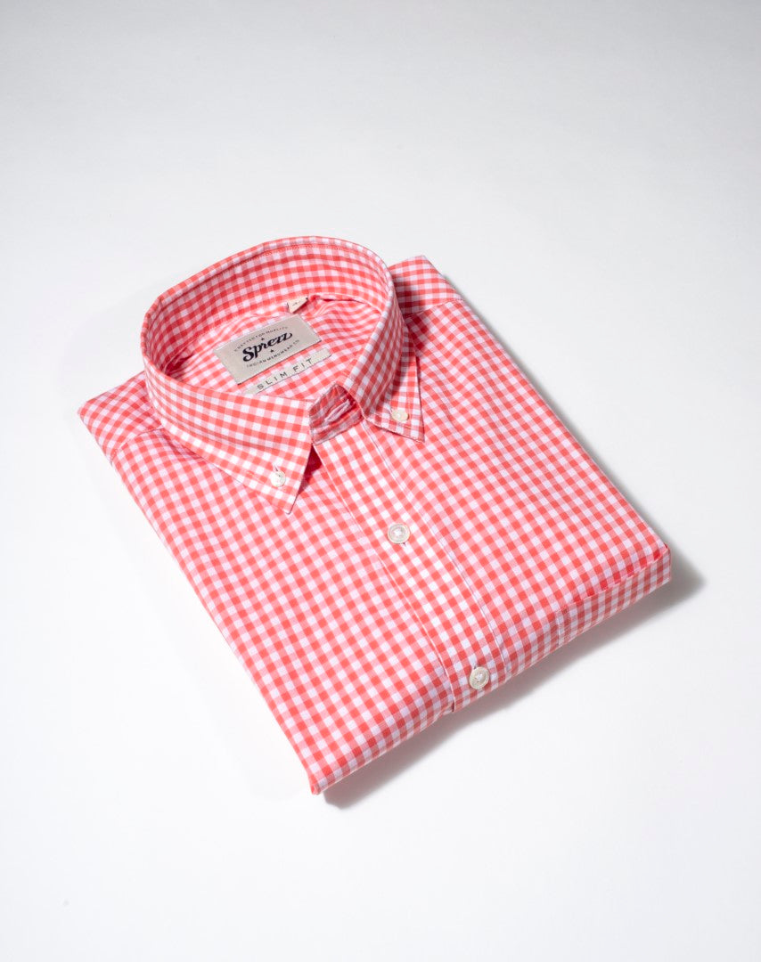 Salmon Pink Gingham Check Button Down Slim Fit Shirt