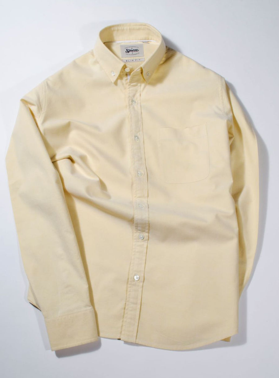 Pastel Yellow Oxford Button Down Slim Fit shirt