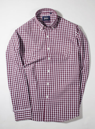 Maroon Gingham Check Button Down Slim Fit Shirt