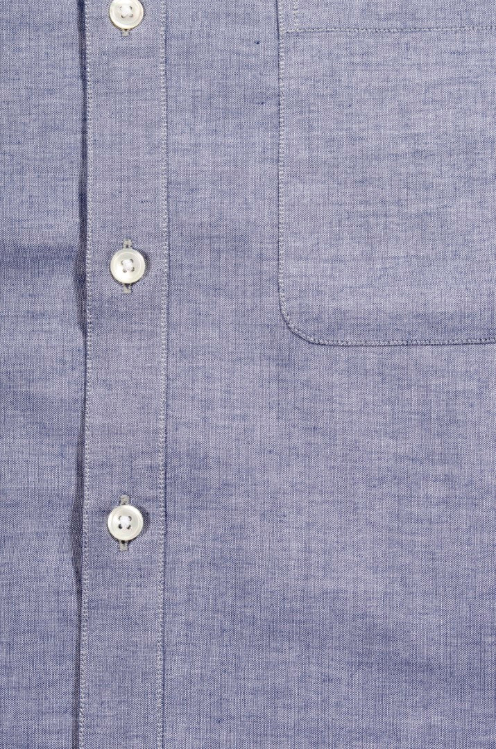Blue Chambray Cutaway Down Slim Fit Shirt