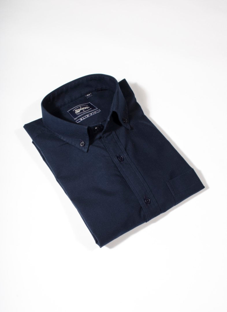 Navy Blue Oxford Button Down Slim Fit Shirt