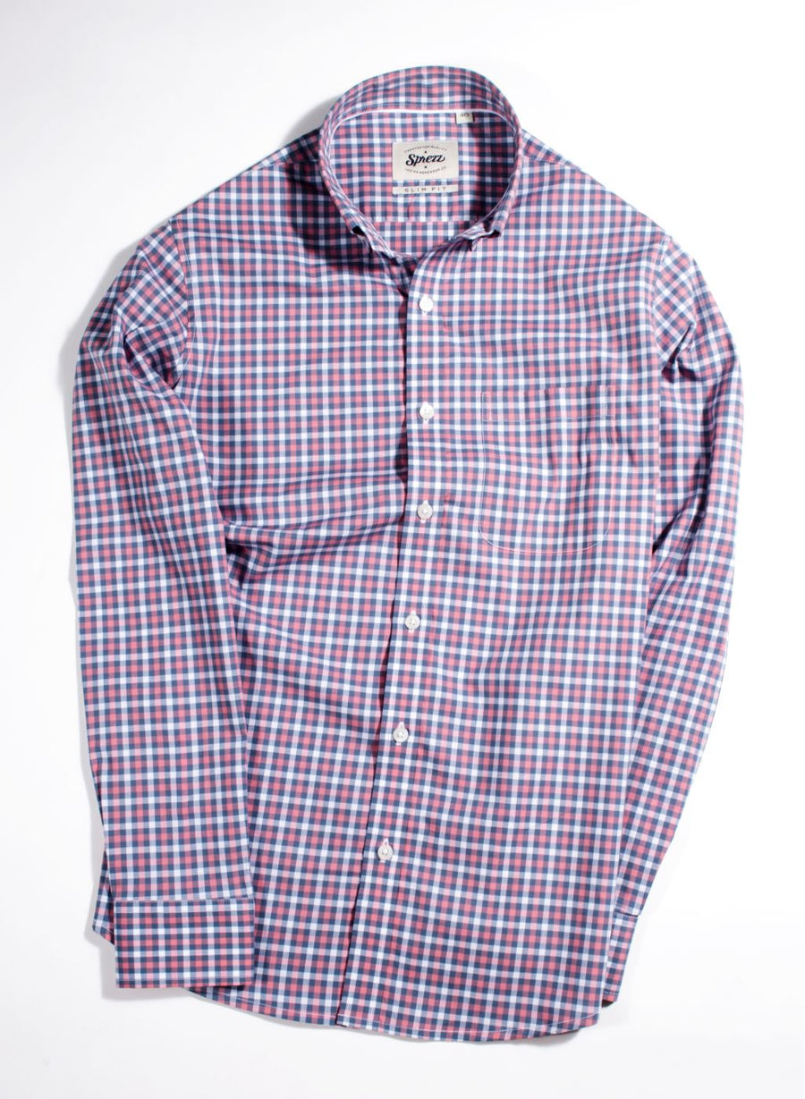 Multi Check Button Down Slim Fit Shirt
