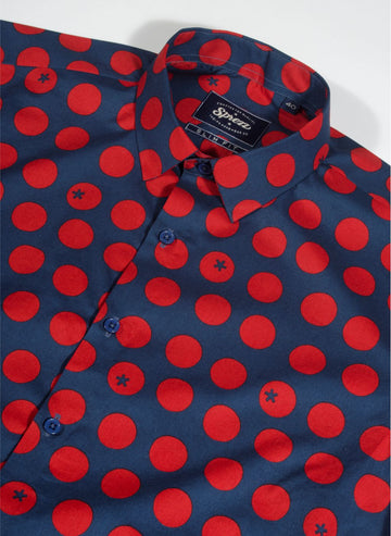 Pomodoro Print Half Sleeves Slim Fit Shirt