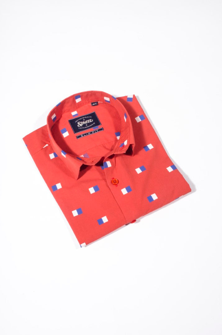 Drapeau Print Half Sleeves Slim Fit Shirt