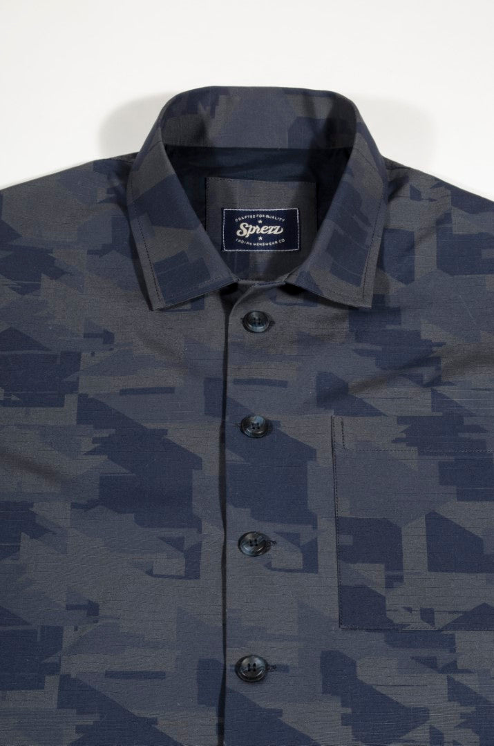 Blue Camo Print Worker Jacket
