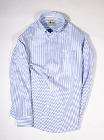 Sky Blue Oxford Stripe Button Down Slim Fit Shirt