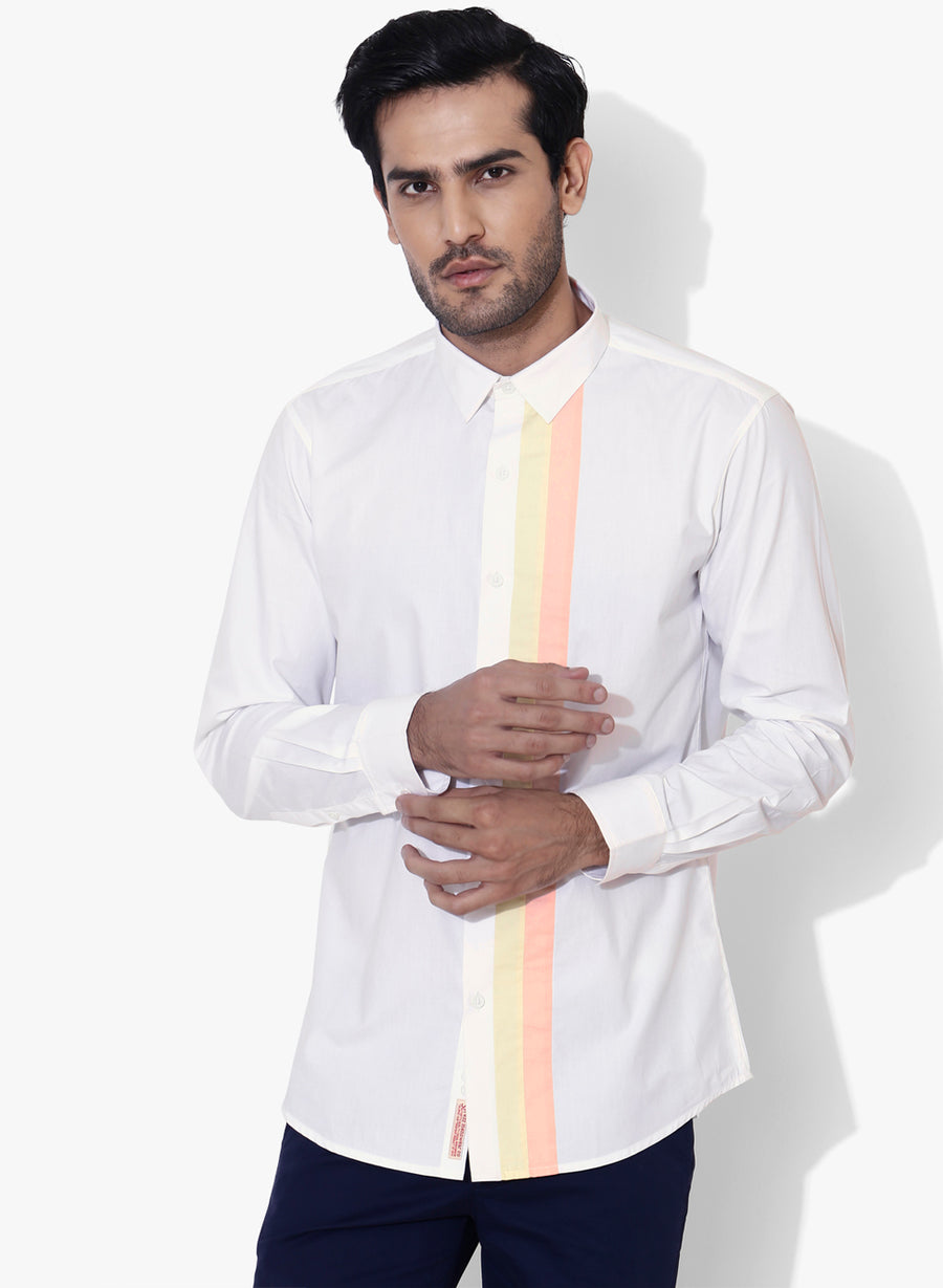 Minimo Color Block Full Sleeve Slim Fit Shirt