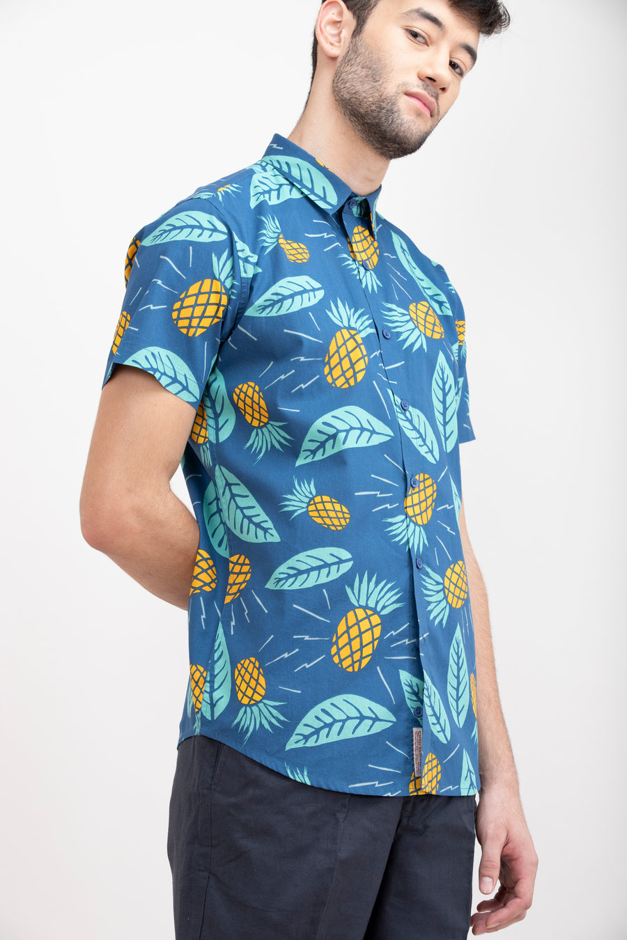 Pineapple Blue Print Slim Fit Shirt