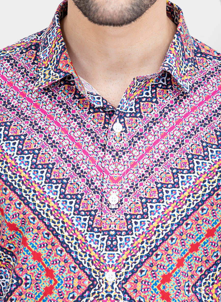 Retro Psychedelic Print Half Sleeves Shirt