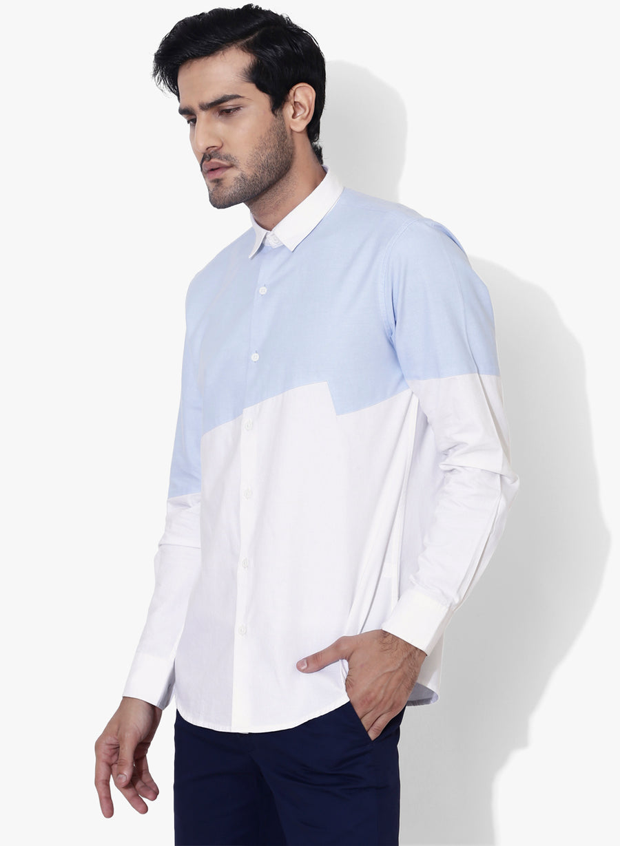Bolt Color Block Oxford Slim Fit Shirt