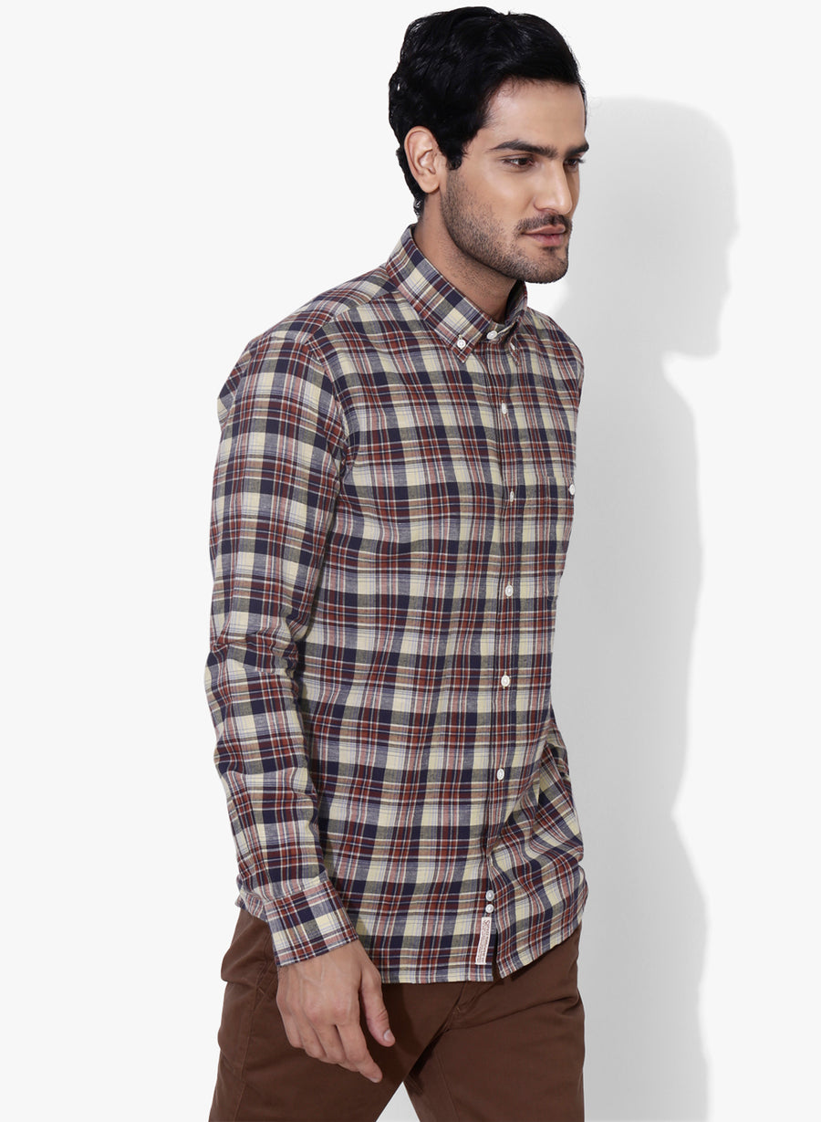 Hipster Brushed Check Button Down Shirt