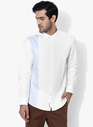 Buroku Color Block Cutaway Collar Shirt