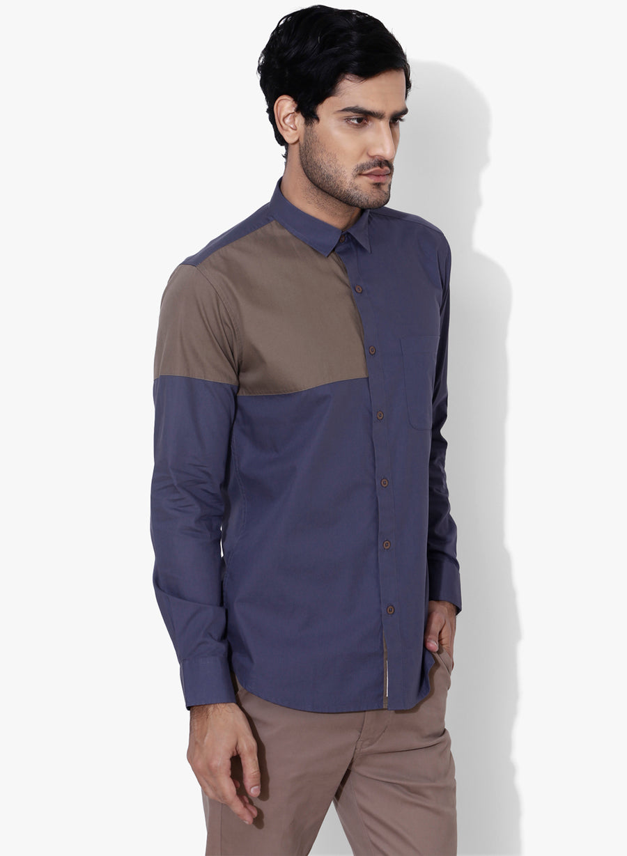 Inverse Colo Block Full Sleeve Slim Fit Shirt